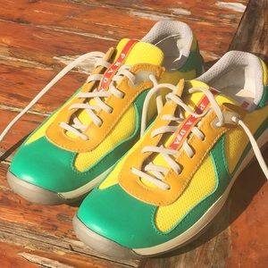 Prada Green and Yellow Trainers low top